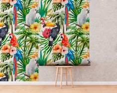 Upgrade your walls with this elegant Tropical Animals Wall Mural adding an exclusive touch to your personal style and surprise your family and friends. Temporary Wallpaper, More Wallpaper, Fabric Wallpaper, Tropical Animals, Furniture Covers, Self Adhesive Wallpaper, Tropical Decor, Tropical Leaves, Cool Patterns