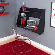 Modern Wall Mounted Black Office Desk