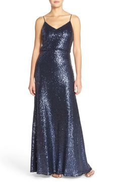 Jenny Yoo 'Jules' Sequin Blouson Gown with Detachable Back Cowl | Nordstrom