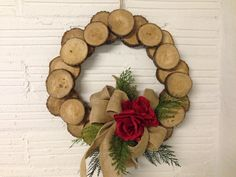 Decorated wood slice wreath by BlessedInTheMidwest on Etsy