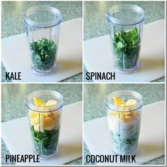 Kale, Spinach, Pineapple, Coconut Milk - certifiably delicious with coconut water, flax and shredded coconut. Green Smoothie Recipes, Juice Smoothie, Smoothie Drinks, Healthy Smoothies, Healthy Drinks, Healthy Snacks, Healthy Recipes, Coconut Smoothie, Vegetable Smoothies