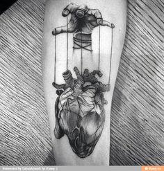 Top 90 Anatomische Herz Tattoo Ideen - Inspiration Guide] - Gentleman With Heart Tattoo, gezogen von Puppet Strings In Blackwork On Thigh - Kunst Tattoos, Tattoo Drawings, Body Art Tattoos, Sleeve Tattoos, Cool Tattoos, Men Tattoos, Tatoos, Creepy Tattoos, Rock Tattoo