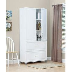SystemBuild 2 Drawer / 2 Door Utility Storage Cabinet, White / Full wall build for studio storage but source a dark color Utility Storage Cabinet, Storage Cabinet With Drawers, White Storage Cabinets, Kitchen Pantry Storage, Kitchen Pantry Cabinets, Door Storage, Cabinet Doors, Storage Spaces, Drawer Storage