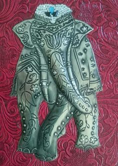 Textured elephant and cut out for a journal.