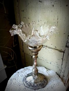 Elegant and Ornate Silver Plated Lamp~use promo code happyfall to receive 10% off your order!!