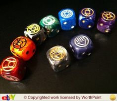 fancy marble swirl dice custom lantern corps red orange yellow green blue indigo violet black white