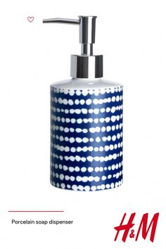 Soap dispenser in patterned porcelain with a plastic pump. Diameter approx. 7 cm  height 18.5 cm. #BakingSodaForDandruff
