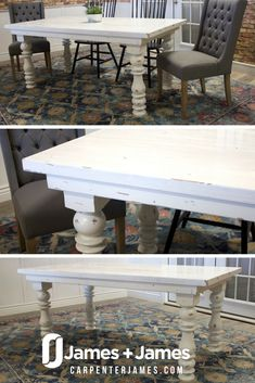 Distressed White Paint adds effortless style to your home decor. Customize hand made furniture to complete your fixer upper, open concept farmhouse, formal dining room or kitchen nook at CarpenterJames.com We'll build your table, you make memories.