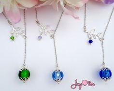 Family Tree Necklace, Aqua Blue Lariat, Jade Green Necklace, Sea Glass Jewelry, Birthday Stone, Aquamarine Pendant, Lampwork Beaded Necklace #etsymnttgfher #etsymnttgfm #etsymnttstockingstuffer  by JoyOterJewelry on Etsy
