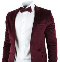 Mens Velvet Slim Fit Maroon Wine Burgandy 3 Piece Suit Wedding Party Black Trim