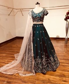 a4fdd88458 Deep Green Bangalore Silk Fabric Machine Work Embroidered Lehenga # lehengacholi #fashion #fashionblog #