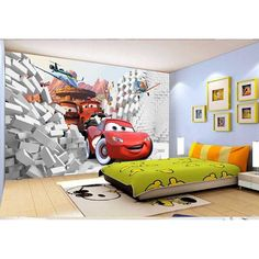 2016 HD 3D Non-woven fabric Cartoon Cars Wall Mural Wallpaper For Living Room Child's Bedroom Sofa TV  Background of Wall paper