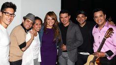 Pictured at the Billboard Latin Conference are (L-R): Chino; Nacho; Delia Orjuela, Vice President, BMI Latin Writer/Publisher Relations; Jenni Rivera; Horacio Palencia; Gocho; and Benny Camacho.