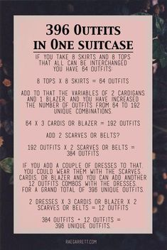 How to pack 396 outfits in one suitcase! This is literally the greatest thing I have found so far! None of that outfits crap. by sarahx Minimalist Closet, Minimalist Fashion, Minimalist Packing, Minimalist Clothing, Minimalist Lifestyle, Minimalist Style, Minimalist Decor, Kelly Wearstler, One Suitcase