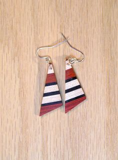 Wood dangle earrings - triangle shape  - hand made from hardwoods - redheart, bloodwood, maple, ebony -  silver wire