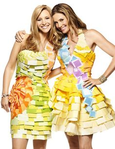 "Lisa Kudrow & Mira Sorvino (Romy & Michelle) reunited 15 years after the release of ""Romy & Michelle's High School Reunion"" in a dress made entirely by Post-It's nonetheless."