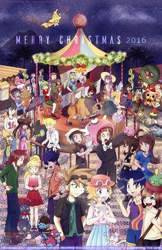 Pokemon Christmas Collab 2016 by MokaSooN on DeviantArt Pokemon Manga, Pokemon Dex, Pokemon Tv Show, Pokemon Moon, Pokemon Ships, Pokemon Adventures Manga, Fanart, Pokemon Special, Anime Princess