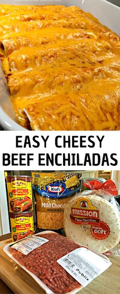 Easy Cheesy Beef Enchiladas - The ingredients and how to make it please visit the website Eay Dinner Recipes, Winter Dinner Recipes, Dinner Ideas, Breakfast Recipes, Beef Enchiladas, Recipes For Beginners, Beachbody, Recipe Ideas, Restaurants