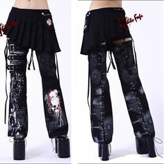 3 Piece Black Skull Emo Punk Gothic Fashion Skirt Shorts Leg Warmers SKU-11404262