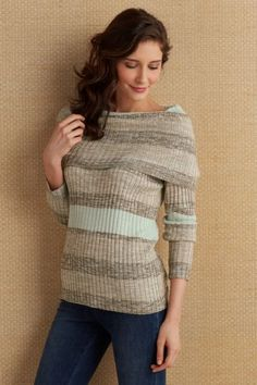 A plentiful cowl offers styling options in this soft and stripey rib knit sweater. Fashioned with long raglan sleeves in neutral earth tones, it's lightweight and comfy for cool summer nights.  Soft Cara Top - Item #2AK04