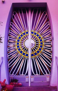 Beautiful lavender painted #door with #mandala center.