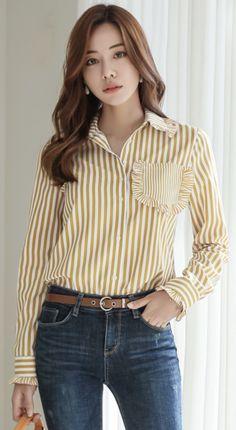 Korean Women`s Fashion Shopping Mall, Styleonme. Korean Winter Outfits, Korean Outfits, Non Iron Dress Shirts, Corporate Outfits, Classy Work Outfits, Casual Elegance, Fashion 2020, Blouses For Women, Korean Fashion