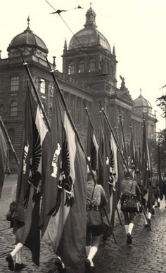 "September 1939. ""Adolf Hitler March"" of Silesian and Saxon Hitler Jugend through Prague."