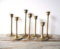 Mid Century Brass Candlesticks. I love these and have been collecting them. Super cheap and found in abundance in thrift stores.  KJC