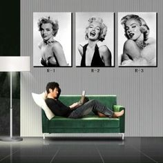 Marilyn Monroe Black & White Photos Home Decoration Print on Canvas Modern Wall Painting Art set of 3 Each 40*60cm #OMRW-01