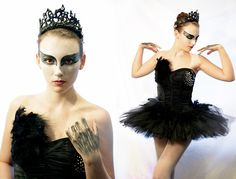 American Apparel White Tights, Diy  Feathered & Rhinestoned Corset, Diy  Feather Tutu Overlay, Plain Black Tutu, Diy Black Swan Crown, Costume Shop Red Contacts