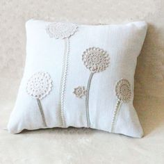 Pretty pillow using doilies as flowers ~