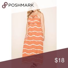 plus size tie-dye maxi dress (coral/cream color) a woven maxi dress featuring an allover tie-dye print with a grommet crisscross cutout V-neckline, cami straps, and elasticized waist, and a square-cut back Forever 21 Dresses Maxi