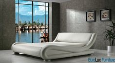 Contemporary White Leather Bed | Available in Queen and King Sizes contemporary beds