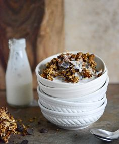 crunchy quinoa, toasted almond and dark chocolate brown butter granola.