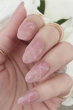 Rose quartz melds perfectly with marble for a subtle crackled effect.  See more on St8cy's Instagram »