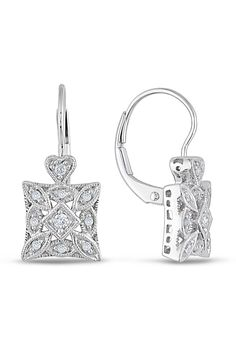 0.16 Ct Ornate Diamond Earrings in 10k White Gold Surprise someone special with these lavishly designed diamond earrings; Take her breath away by offering her these stunning 0.16 carat sparkling diamond earrings; She will wear them with pride and think of you each time she sees them sparkle; Crafted in 10k white gold; Diamonds are round cut and pave, 3 prong