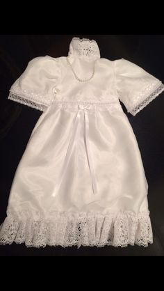 This is my 9th Angel Gown I've made since I started sewing these little dresses. This is another one from the 34 year old wedding dress material. Although the dress was fragile to work with & I wasn't able to get many Angel Gowns from the Wedding Dress, the end product made a fabulous little gown. So soft & delicate.