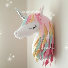 Unicorn gorgeous plush for the kids room DIY✨Here is the latest Unicorn pillow, Im in love with this pi Felt Crafts, Diy And Crafts, Crafts For Kids, Arts And Crafts, Unicorn Rooms, Unicorn Bedroom, Sewing Crafts, Sewing Projects, Unicorn Pillow