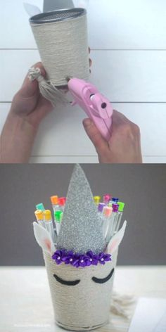 Add a bit of magic to your desk or craft space with this super cute unicorn pencil holder! Read on for easy video tutorial and photo step-by-step directions. for teenagers videos Unicorn Pencil Holder Diy And Crafts Sewing, Crafts For Girls, Easy Crafts For Kids, Summer Crafts, Cute Crafts, Crafts To Sell, Arts And Crafts, Rock Crafts, Space Crafts