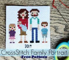 Family Portrait Cross Stitch Pattern