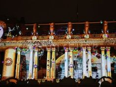 Bucharest, Romania, festival of lights on Calea Victoriei Avenue, projection on the facade of building of the National Military Circle. Bucharest Romania, Festival Lights, Facade, Scene, Military, Lighting, Architecture, Night, Building