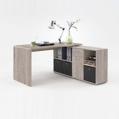 Flexi Wooden Corner Computer Desk In Sand Oak Looks Brilliant and Can Occupied in Any place of your office or home Specifically Corner area Finish: Sand Oak Features: •Flexi Wooden Corner Comp...