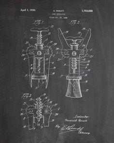 Corkscrew Wine Bottle Opener Patent Print - IndustrialPrints