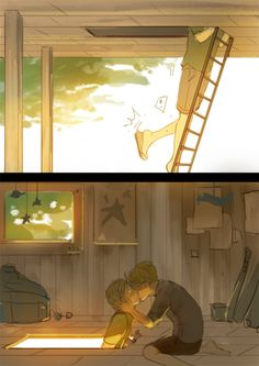 OH MY GOD. USUK kiss treehouse scene inspired by: https://www.fanfiction.net/s/5994651/1/American-dreams-in-an-English-village source: http://rockets.tumblr.com/post/5413516956