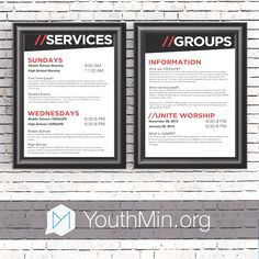 Information Board Templates - Great for announcing upcoming events and other important announcements in your Youth Room