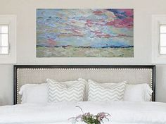 "Original Abstract Painting on Canvas - 48"" x 24"" by Casey Christian Blalock - oversize artwork abstract art mixed media art work"