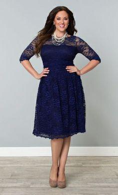 @Theresa Derrick Larkins Scalloped Luna Lace Dress-Sapphire-Kiyonna, Mother of the Bride, plus size