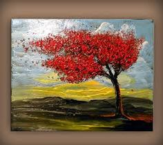 Image result for acrylic painted tree with blowing leaves