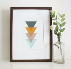 Triangle Print, Triangle Wall Art, Mustard Yellow, Grey, Biege - Instant Download - Tribal Home Decor, Modern Wall Art - Multiple Sizes on Etsy, $5.00