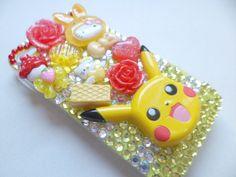 Pokemon Pikachu Kawaii Yellow Rhinestone iPhone 4s by FunkyDestash, $40.00